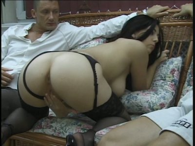 Gorgeous slut Sylvia Diamond handles easily with two strong cocks