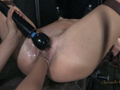 All naked and fixed brunette Mia Gold has a real BDSM threesome